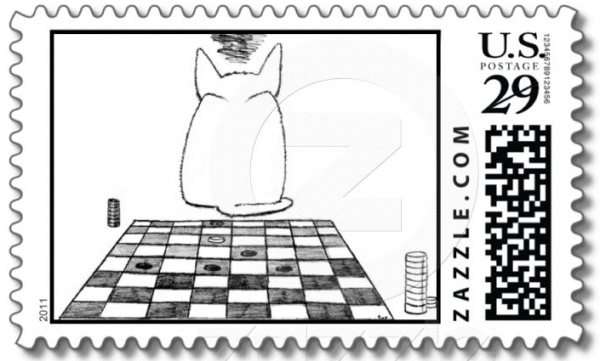Pay your bills with the Annoyed Cat postage Stamp!